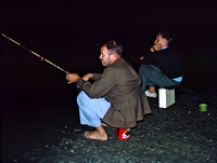 Dad and Rob fishing at Causeway at night