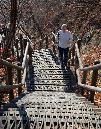 Bev on stairs