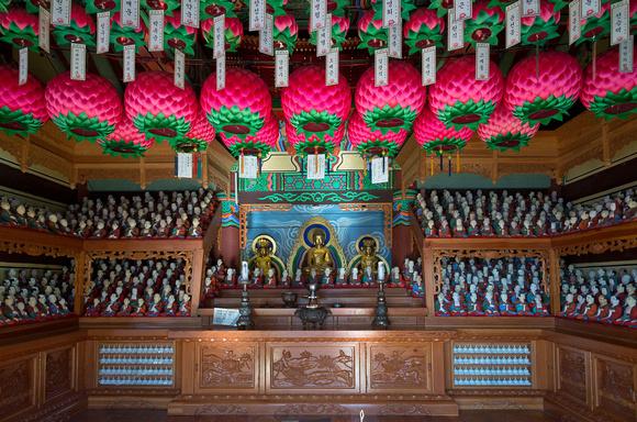 Buddhist temple building interior