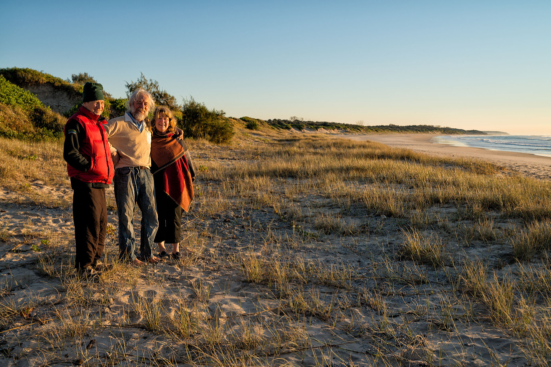 Rob, Fons and Irene on Plumbago Beach at Sunrise