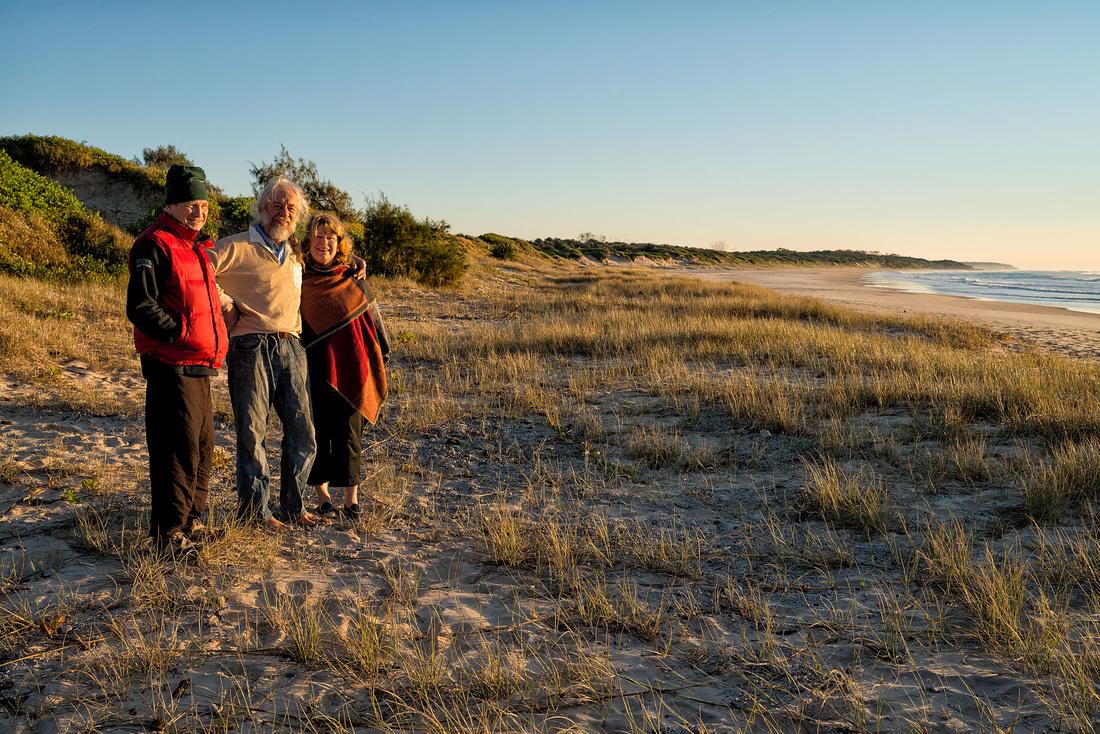 Rob, Fons and Irene on Plumbago Beach at Sunrise