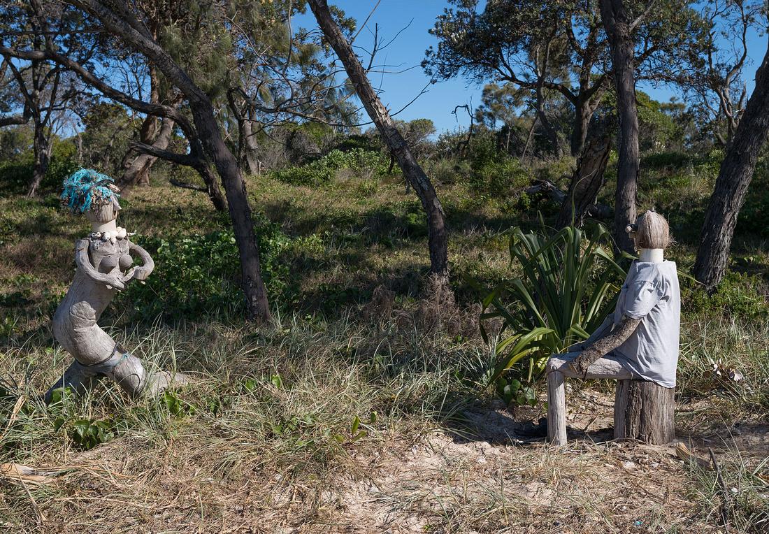 Beach sculptures at Sandon River