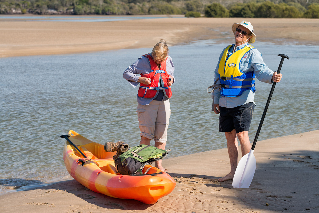 Rob and Olive preparing to cross Sandon River
