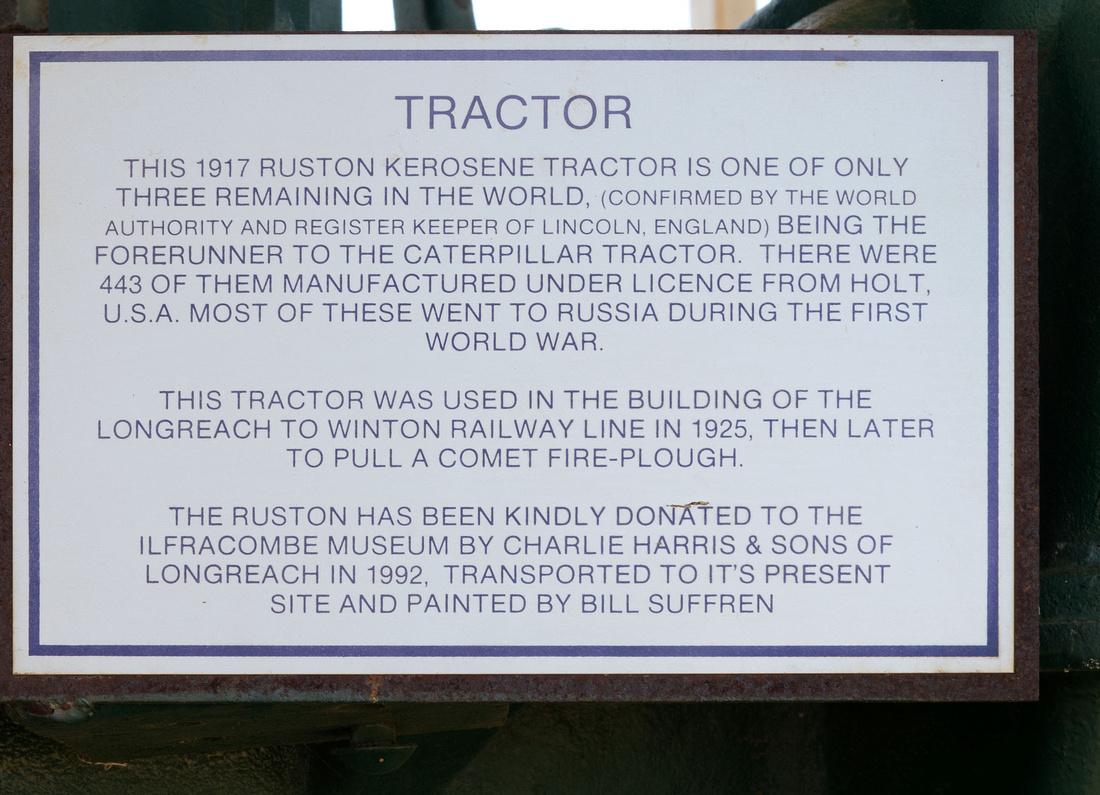 Description of 1917 Ruston Tractor