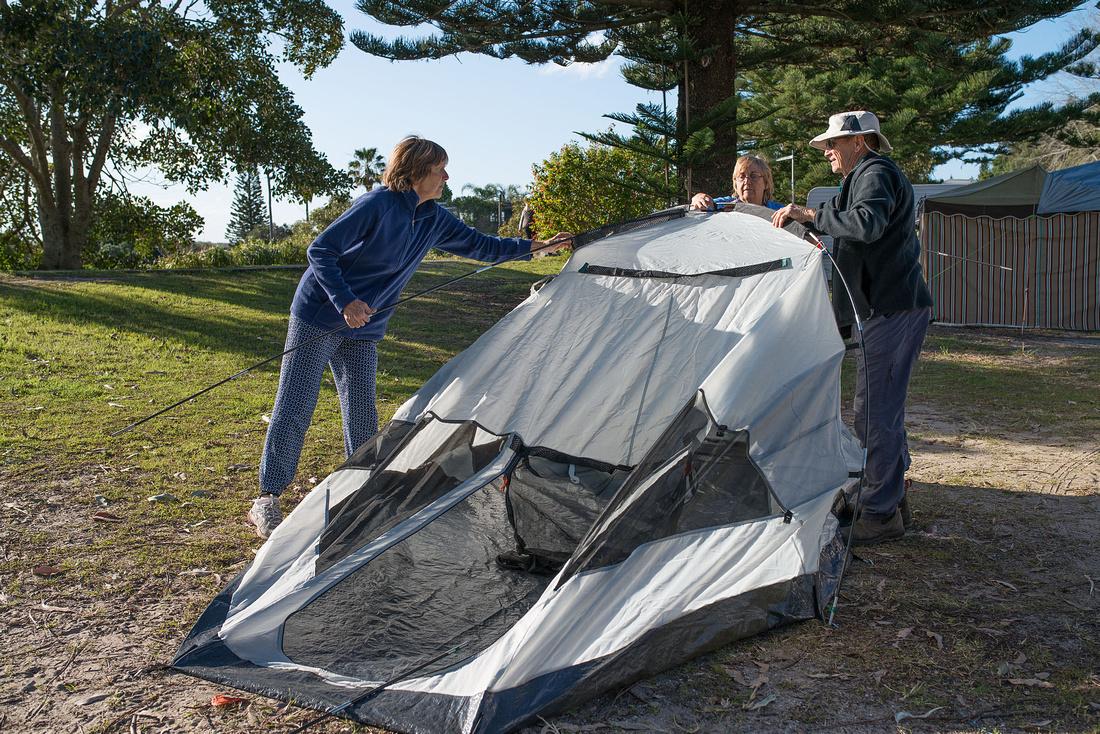 Erecting Olive's Tent